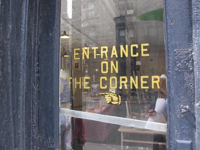entrance on corner